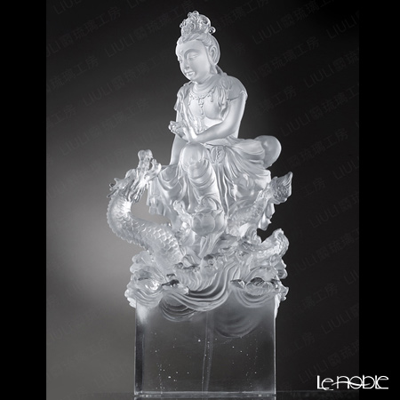 [Back Order] Liuli Gongfang Crystal Buddha Figurine (Guan Yin) Enlightened by the Auspicious Dragon PED217. ADAAZ