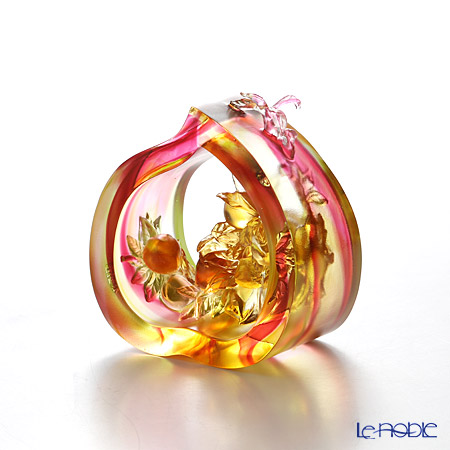 LiuLi GongFang / Paste Crystal Glass 'Spring Peach of Longevity' PAE06 Object H10cm