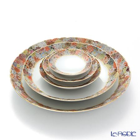 現代の京薩摩 皿揃え5枚組菊詰 伝統工芸士 小野多美枝氏 -空女-作