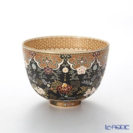 Kyoto Satsum tea bowl (KUNYO style) Black ground, seven white treasures decor,