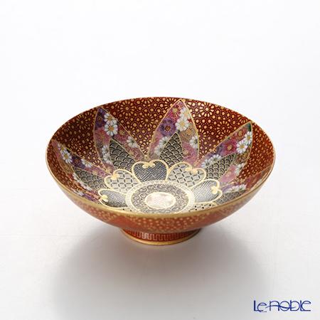 Kyoto Satsuma plate (KUNYO style) red golden color, (Traditional Handicraft)