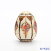 Modern Kyoto Satsuma 'Shippo / Cloisonne Flower' White Egg shape Cup & Holder