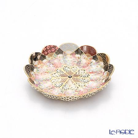 現代の京薩摩 扇面皿 菊型 伝統工芸士 小野多美枝氏 -空女-作