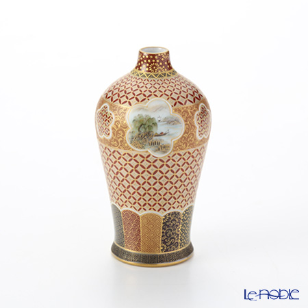 Modern Kyoto Satsuma small vase long Sansui Komon craft Ono branch-beauty - sky woman - made