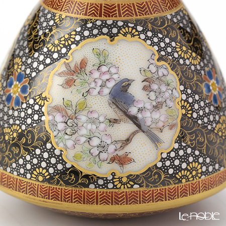 Modern Kyoto Satsuma small vase Bird black craft Ono branch-beauty - sky woman - made