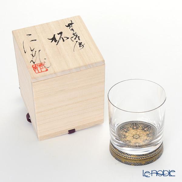 Modern Kyoto Satsuma x Kutani Japanese Glass 'Black' Rock Glass