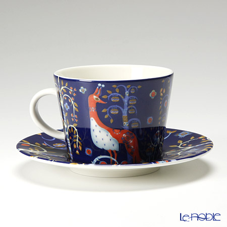 Iittala 'Taika (Owl & Fox)' Blue 1012473 Coffee / Cappucino Cup & Saucer 200ml