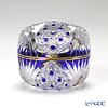 Horiguchi Glass / Edo Kiriko Flashed Glass 'Kagome ni Asanoha mon' Azure Blue K1553B Round Box 7xH6cm