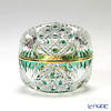 Horiguchi Glass / Edo Kiriko Flashed Glass 'Kagome ni Asanoha mon' Green K1553M Round Box 7xH6cm