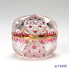Horiguchi Glass / Edo Kiriko Flashed Glass 'Kagome ni Asanoha mon' Bronz-Red K1553P Round Box 7xH6cm