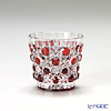 Horiguchi Glass / Edo Kiriko Flashed Glass 'Kagome mon' Bronz-Red K5831P Sake Cup 50ml