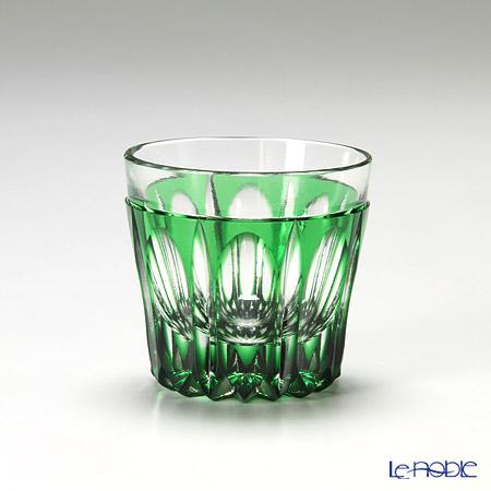 堀口硝子 江戸切子 緑被万華様 切立盃 K5835M