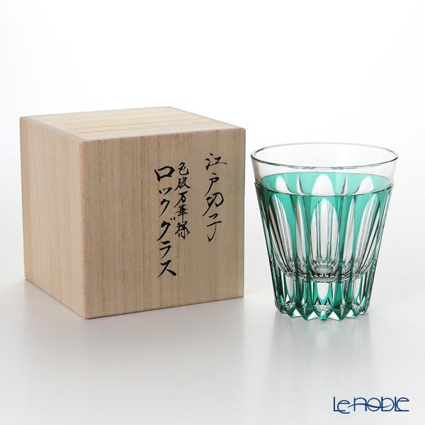 Horiguchi Glass / Edo Kiriko Flashed Glass 'Mangeyou' Green H7111GN Rock Glass 200ml