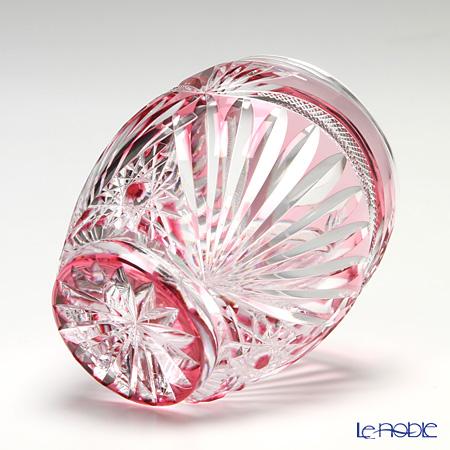 Horiguchi Glass / Edo Kiriko Flashed Glass 'Matsuba ni Kumonosu mon' Bronz-Red K7351P Mini Rock Glass