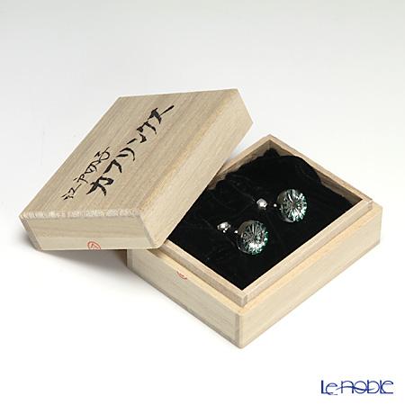 堀口硝子 江戸切子 カフリンクス菊 緑 0616