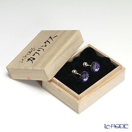 堀口硝子 江戸切子 カフリンクス菊 瑠璃 0619
