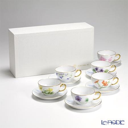 大倉陶園 富士山に咲く高原の花 碗皿(カップ&ソーサー) 6客セット 89CU/E133
