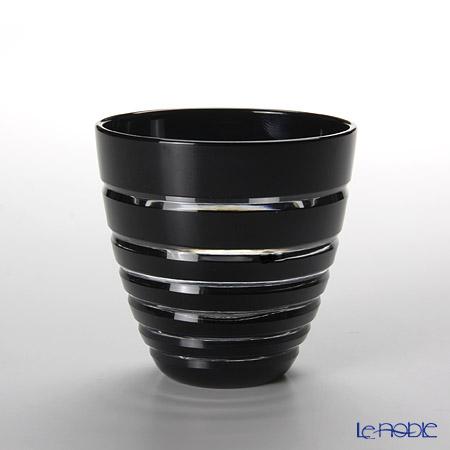 【伝統工芸】田島硝子 江戸切子 黒 年輪 酒杯 【木箱入】