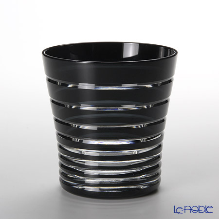 Tajima Glass Edo Kiriko Black Old Fashioned, growth ring pattern with wooden box