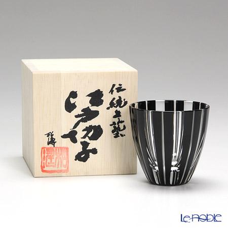 【伝統工芸】田島硝子 江戸切子 黒 竹酒杯 【木箱入】