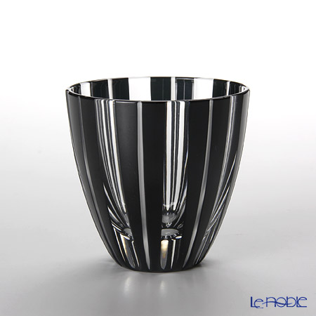 Tajima Glass / Edo Kiriko Flashed Glass 'Take (Bamboo) / Stripe' Black Sake Cup 75ml (with wooden box)