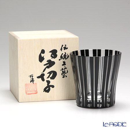 Tajima Glass / Edo Kiriko Flashed Glass 'Take (Bamboo) / Stripe' Black OF Tumbler 340ml (with wooden box)