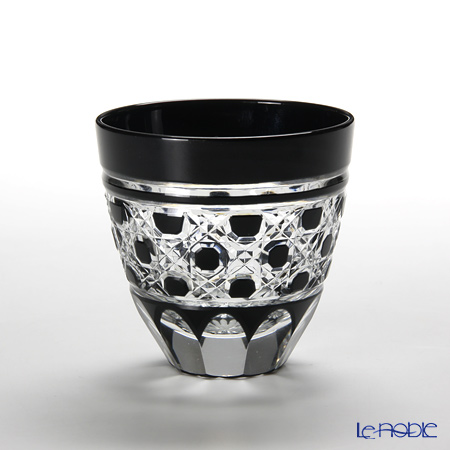 Tajima Glass Edo Kiriko Black Sake Cup, octagonal-reticulate pattern with wooden box TG09-214-1K