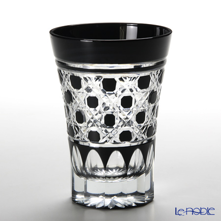 Tajima Glass Edo Kiriko Black Tumbler, octagonal-reticulate pattern with wooden box TG09-18-1K