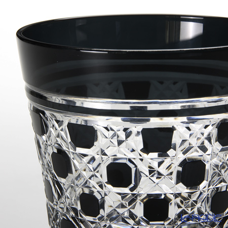 Tajima Glass / Edo Kiriko Flashed Glass 'Rokkaku Kagome' Black TG09-28-1K OF Tumbler 340ml (with wooden box)