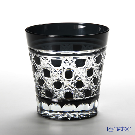 Tajima Glass Edo Kiriko Black Old Fashioned, octagonal-reticulate pattern with wooden box TG09-28-1K