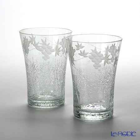 Tajima Glass 'Hanayuki / Grape Vine' TG04-005-2 Free Tumbler 230ml (set of 2)