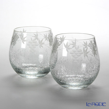 Tajima Glass Kiriko Snow Drop Wine Tumbler set of 2 TG05-006-2