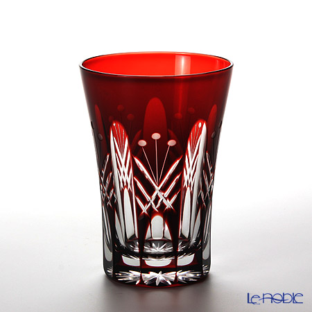 Tajima Glass / Edo Kiriko Flashed Glass 'Utsushimi Tamayarai mon' Red TG05-15-1R Tumbler 240ml (with gift box)