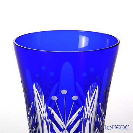 Tajima Glass / Edo Kiriko Flashed Glass 'Utsushimi Tamayarai mon' Azure Blue TG05-15-1B Tumbler 240ml (with gift box) TG05-15-1B【传统工艺】田岛玻璃 / 江戸切子 '映见玉矢来' 琉璃(蓝色) 玻璃杯