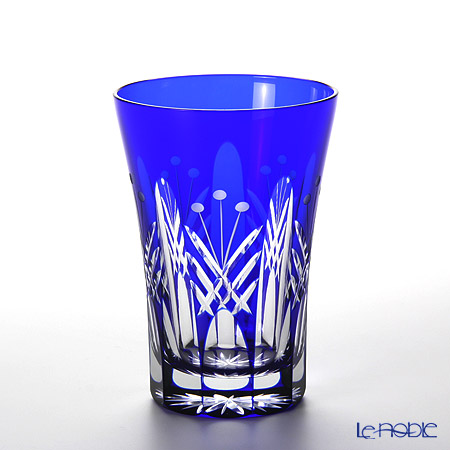 Tajima Glass / Edo Kiriko Flashed Glass 'Utsushimi Tamayarai mon' Azure Blue TG05-15-1B Tumbler 240ml (with gift box)