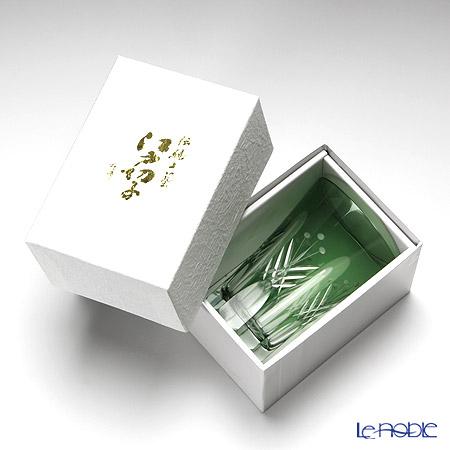 Tajima Glass / Edo Kiriko Flashed Glass 'Utsushimi Tamayarai mon' Green TG05-15-1G Tumbler 240ml