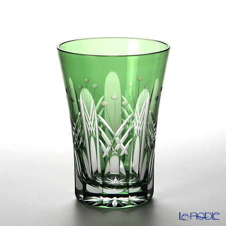 Tajima Glass / Edo Kiriko Flashed Glass 'Utsushimi Tamayarai mon' Green TG05-15-1G Tumbler 240ml