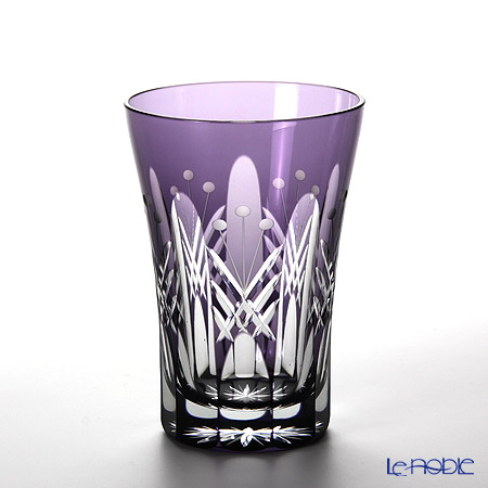 Tajima Glass / Edo Kiriko Flashed Glass 'Utsushimi Tamayarai mon' Purple TG05-15-1V Tumbler 240ml