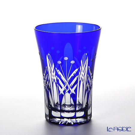 Tajima Glass / Edo Kiriko Flashed Glass 'Utsushimi Tamayarai mon' Red & Azure Blue TG05-15-2 Tumbler 240ml (set of 2 colors with wooden box)