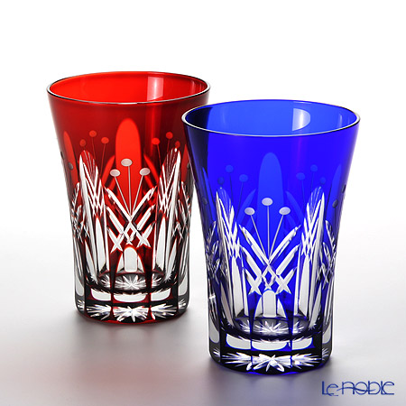 Tajima Glass / Edo Kiriko Flashed Glass 'Utsushimi Tamayarai mon' Red & Azure Blue TG05-15-2 Tumbler 240ml (set of 2 colors with wooden box)