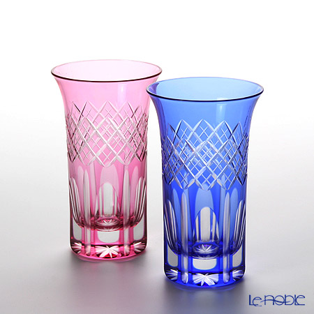 Tajima Glass / Edo Kiriko Flashed Glass 'Utsushimi Kasane Yarai mon' Bronz-Red & Azure Blue TG08-09-2 Tumbler 120ml (S / set of 2 color)