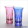 Tajima Glass / Edo Kiriko Flashed Glass 'Utsushimi Kasane Yarai mon' Bronz-Red & Azure Blue TG08-09-2 Tumbler 120ml (S / set of 2 color) TG08-09-2【传统工艺】田岛玻璃 / 江戸切子 '映见玉矢来纹' 金红(粉色)&琉璃(蓝色) 啤酒一口杯 (2件套)