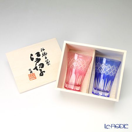 Tajima Glass / Edo Kiriko Flashed Glass 'Utsushimi Kasane Yarai mon' Bronz-Red & Azure Blue TG08-17-2 Tumbler 240ml (set of 2 color)