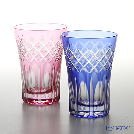 Tajima Glass / Edo Kiriko Flashed Glass 'Utsushimi Kasane Yarai mon' Bronz-Red & Azure Blue TG08-17-2 Tumbler 240ml (set of 2 color)