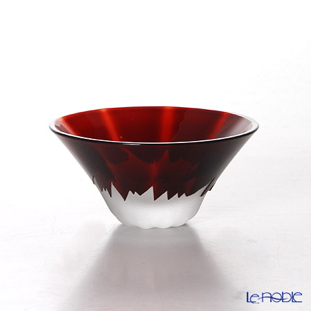 Tajima Glass Sake Cup Mt.Fuji, Red with wooden box TG13-013-1R