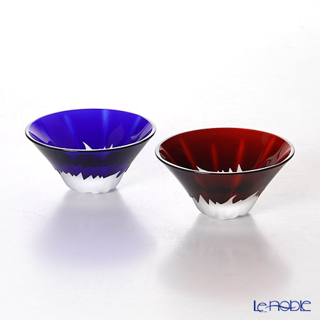 Tajima Glass Sake Cup set Mt.Fuji, Blue & Red with wooden box TG13-013-2