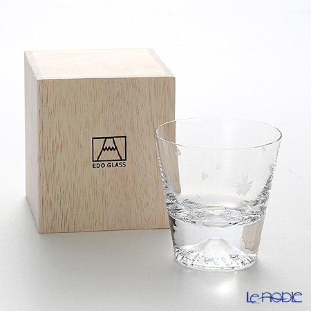 Tajima Glass Mt. Fuji Glass Rock/Whiskey glass, Sakura Kiriko (cherry-blossom) Style TG16-015-RS
