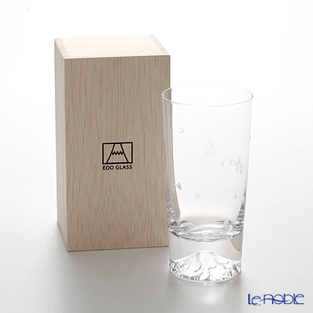 Tajima Glass 'Mt. Fuji Glass - Sakura Kiriko' Tumbler 400ml (with Cherry Blossom pattern Furoshiki) TG16-015-TS 【传统工艺】田岛玻璃 '富士山 - 樱花切子' 玻璃杯 (樱花风吕敷包装)