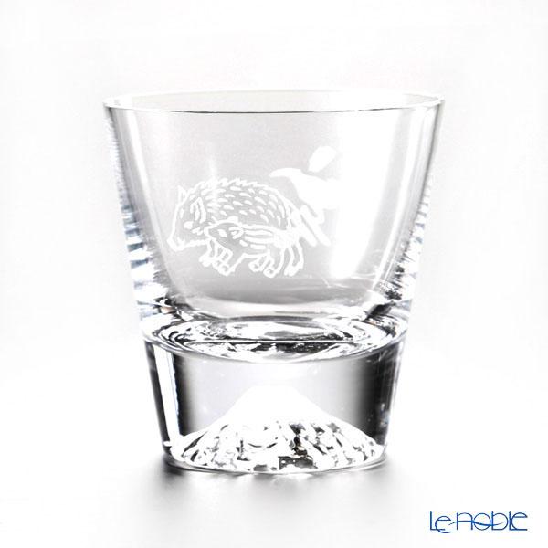 Tajima Glass 'Mt. Fuji Glass - Zodiac Boar' Rock Glass 270ml (with Cherry Blossom pattern Froshiki) TG15-015-T【传统工艺】田岛玻璃 '富士山 - 干支 2019年 亥' 威士忌杯 (樱花风吕敷包装)