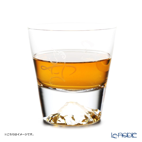 Tajima Glass 'Mt. Fuji Glass - Zodiac Mouse' Rock Glass 270ml (with Mouse pattern Froshiki) TG15-015-T【传统工艺】田岛玻璃 '富士山 - 干支 2020年 子' 威士忌杯 (老鼠风吕敷包装)